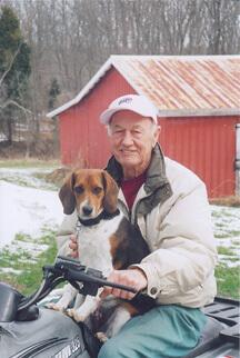 """Bob Allen and his dog """"Dot.com"""""""