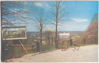 1959 postcard of the Bean Blossom Overlook during the Redbud and Dogwood time