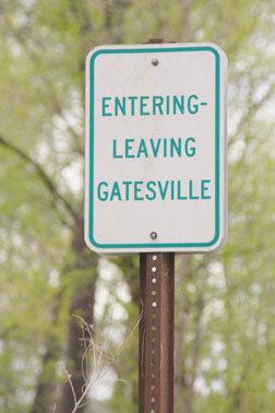 Entering-Leaving Gatesville sign
