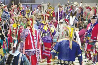Joyful dancers of an Oklahoma Indian Masonic ceremonial team
