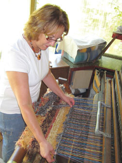 Karen E. Farley at the loom